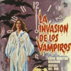 Cine: LA INVASION DE LOS VAMPIROS PROGRAMA SENCILLO CIRE TERROR MEJICANO. Lote 4842495