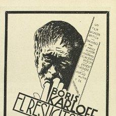 Cine: EL RESUCITADO PROGRAMA DOBLE ATLANTIC BORIS KARLOFF TERROR. Lote 6836977