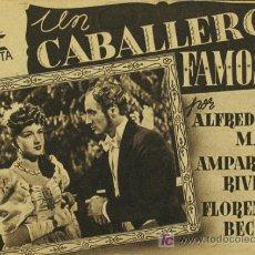 Cine: UN CABALLERO FAMOSO PROGRAMA DOBLE CIFESA MARRON CINE ESPAÑOL AMPARO RIVELLES ALFREDO MAYO A. Lote 10814973
