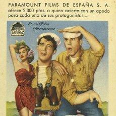 Cine: VAYA PAR DE MARINOS PROGRAMA TARJETA ESPECIAL CONCURSO PARAMOUNT DEAN MARTIN JERRY LEWIS. Lote 4846894