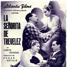 Cine: LA SEÑORITA DE TREVELEZ, RARO , DOBLE , S882. Lote 25606660