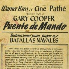 Cine: PUENTE DE MANDO PROGRAMA ESPECIAL DOBLE WARNER GARY COOPER. Lote 27276724
