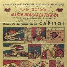 Cine: MARTE ATACA A LA TIERRA PROGRAMA TROQUELADO COMIC BALET Y BLAY DE FLASH GORDON BUSTER CRABBE. Lote 27276716