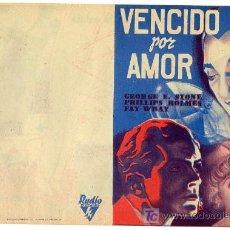 Folhetos de mão de filmes antigos de cinema: VENCIDO POR AMOR , DOBLE IMPRECABLE, RKO , AÑOS 30 ,PMD. Lote 266547268