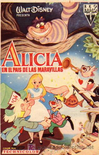 WALT DISNEY - ALICIA EN EL PAIS DE LAS MARAVILLAS (Cine - Folletos de Mano - Infantil)