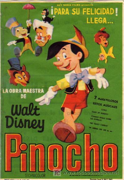WALT DISNEY - PINOCHO - ESCRITO DORSO CINE FEMINA DE BCN - REY SORIA (Cine - Folletos de Mano - Infantil)