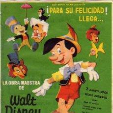 Cine: WALT DISNEY - PINOCHO - ESCRITO DORSO CINE FEMINA DE BCN - REY SORIA. Lote 7533334