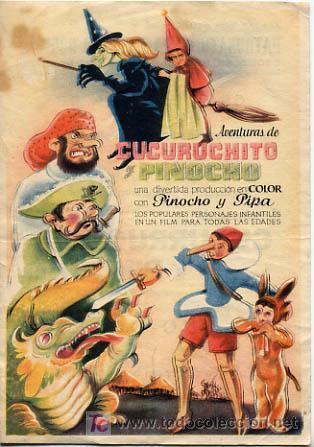 CUCURUCHITO Y PINOCHO , SENCILLO , PM7887 (Cine - Folletos de Mano - Infantil)