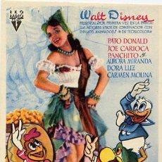 Cine: LOS TRES CABALLEROS PROGRAMA SENCILLO RKO AZUL WALT DISNEY. Lote 6306482