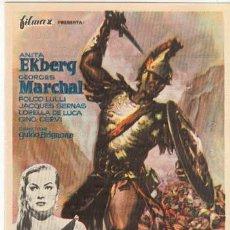 Cine: BAJO EL SIGNO DE ROMA PROGRAMA SENCILLO FILMAX ANITA EKBERG PEPLUM. Lote 5174098
