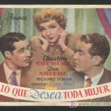 Cine: P-3768- LO QUE DESEA TODA MUJER (GUEST WIFE) CLAUDETTE COLBERT - DON AMECHE. Lote 180014185