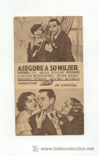 ASEGURE A SU MUJER (Cine - Folletos de Mano)