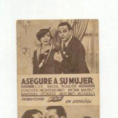 Cine: ASEGURE A SU MUJER. Lote 26473151