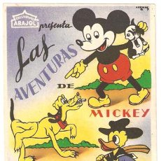 Cine: LAS AVENTURAS DE MICKEY PLUTO Y PATO DONALD PROGRAMA SENCILLO ARAJOL WALT DISNEY A1. Lote 10815099