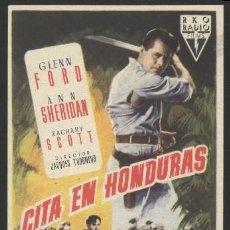 Cine: P-4237- CITA EN HONDURAS (GLENN FORD - ANN SHERIDAN - ZACHARY SCOTT - RODOLFO ACOSTA). Lote 18488552