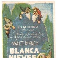 Cine: BLANCA NIEVES Y LOS SIETE ENANITOS PROGRAMA SENCILLO FILMOFONO WALT DISNEY CORTO. Lote 6400767
