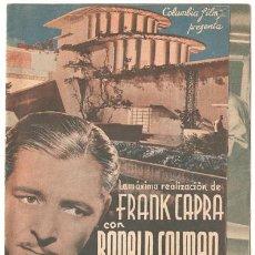 Cine: HORIZONTES PERDIDOS PROGRAMA DOBLE COLUMBIA FRANK CAPRA RONALD COLMAN JANE WYATT. Lote 12980898
