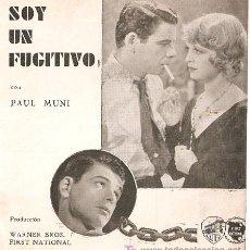 Cine: SOY UN FUGITIVO PROGRAMA DOBLE WARNER PAUL MUNI GLENDA FARRELL PRESTON FOSTER. Lote 18490507