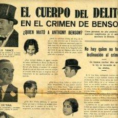 Cine: EL CUERPO DEL DELITO , EN EL CRIMEN DE BENSON , AÑOS 20 , CINE MUDO ? , S1241. Lote 16420573