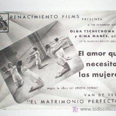 Cine: EL AMOR QUE NECESITAN LAS MUJERES. OLGA TSCHECHOWA Y GINA MANES.. Lote 210337260