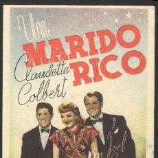 Cine: P-0569- UN MARIDO RICO (THE PALM BEACH STORY) (SIN PARAMOUNT) (DOBLE) CLAUDETTE COLBERT. Lote 19607520