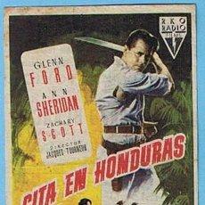 Cine: CITA EN HONDURAS. CINE COLISEUM TARRAGONA. GLENN FORD, ANN SHERIDAN. Lote 7018484