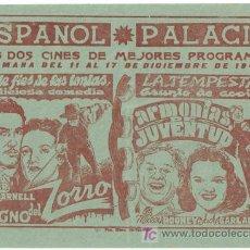 Cine: EL SIGNO DEL ZORRO / ARMONIAS DE JUVENTUD PROGRAMA LOCAL TYRONE POWER JUDY GARLAND. Lote 7033605