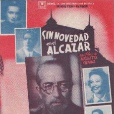 Cine: PROGRAMA DE CINE (CUADRUPLE) SIN NOVEDAD EN EL ALCAZAR, GUERRA NACIONAL, 660X235. Lote 7098081