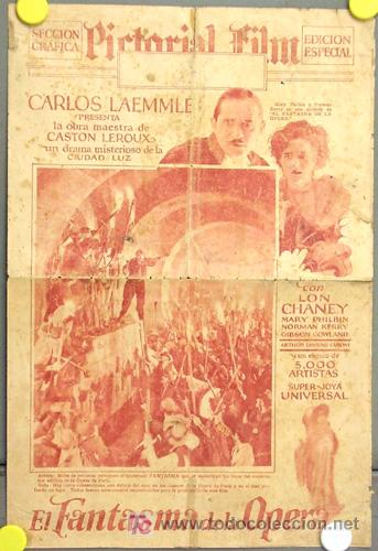 D EL FANTASMA DE LA OPERA PROGRAMA DOBLE GRANDE PERIODICO ESPAÑOL USA LON CHANEY EN ESPAÑOL (Cine - Folletos de Mano - Terror)