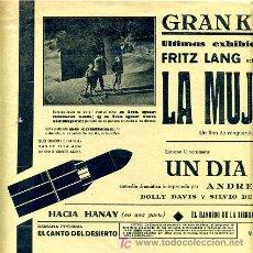 Cine: LA MUJER EN LA LUNA , 1931 ,Y UN DIA FELIZ ,. Lote 16584411