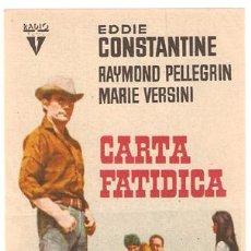 Cine: CARTA FATIDICA PROGRAMA SENCILLO RADIO EDDIE CONSTANTINE RAYMOND PELLEGRIN. Lote 7457577
