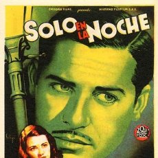 Cine: SOLO EN LA NOCHE PROGRAMA SENCILLO 20TH CENTURY FOX SOLIGO JOHN HODIAK MANKIEWICZ. Lote 7478842