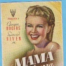 Cine: MAMA A LA FUERZA. CINE MUNDIAL Y C. NACIONAL. GINGER ROGERS, DAVID NIVEN. Lote 204790017