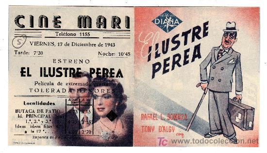 EL ILUSTRE PEREA. DIR. JOSE BUCHS. AÑO 1943. (Cine - Folletos de Mano - Drama)