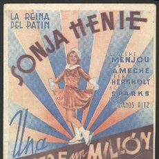 Cine: P-7676- UNA ENTRE UN MILLON (ONE IN A MILLION) (DOBLE) SONJA HENIE. Lote 22112393