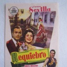 Flyers Publicitaires de films Anciens: FOLLETO DE MANO - REQUIEBRO - CARMEN SEVILLA CARLOS SCHLIEPER ANGEL MAGAÑA. Lote 24271304