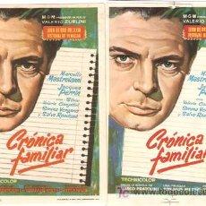 Cine: CRONICA FAMILIAR 2 PROGRAMAS 1 MAQUETA 1 SENCILLO MGM MARCELLO MASTROIANNI. Lote 7955162