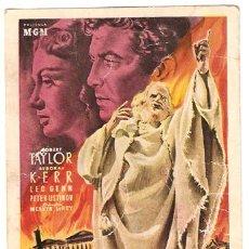 Cine: QUO VADIS PROGRAMA TARJETA ESPECIAL MGM ROBERT TAYLOR DEBORAH KERR B. Lote 17969447