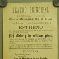 Cine: NICK WINTER Y LOS ANTIFACES GRISES PROGRAMA LOCAL CINE MUDO GEORGES VINTER 1914. Lote 10826549