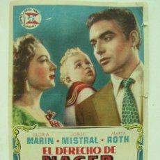 Cine: + EL DERECHO DE NACER GLORIA MARÍ JORGE MISTRAL PUBLICIDAD DE LA PELICULA. Lote 8189935