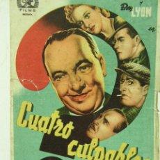 Cine: + CUATRO CULPABLES 1950 PUBLICIDAD EN LA PARTE TRASERA DE LA PELICULA. Lote 8205776