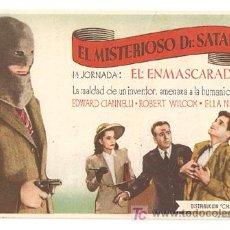 Cine: EL MISTERIOSO DR. SATAN PROGRAMA SENCILLO CHAMARTIN SERIAL JORNADA 1. Lote 8233913