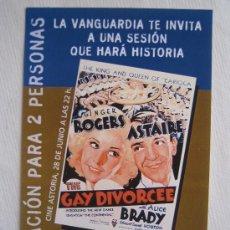 Cine: FOLLETO DE MANO INVITACION - LA ALEGRE DIVORCIADA - SESION DE CIERRE DEL CINE ASTORIA DE BARCELONA. Lote 15820812