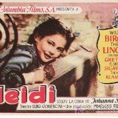 Cine: HEIDI. COLUMBIA FILMS S.A. SIN PROPAGANDA-. Lote 36527382