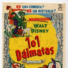 Cine: 101 DALMATAS PROGRAMA SENCILLO CHAMARTIN WALT DISNEY. Lote 8411252