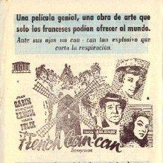 Flyers Publicitaires de films Anciens: FRENCH CAN-CAN/TREMOLINA/VIAJE DE NOVIOS. Lote 8722871