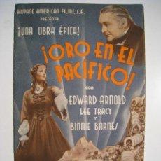 Cine: PROGRAMA CINE DOBLE ORO EN EL PACIFICO (GUERRA CIVIL). Lote 8731525
