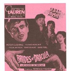 Cine: LAS NOVIAS DE DRACULA PROGRAMA SENCILLO R-80'S COOPER FILMS HAMMER PETER CUSHING. Lote 8988113