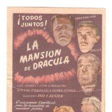 Cine: LA MANSION DE DRACULA PROGRAMA SENCILLO CIFESA LON CHANEY JR. JOHN CARRADINE B. Lote 10071198