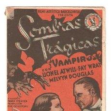 Cine: SOMBRAS TRAGICAS ¿ VAMPIROS ? PROGRAMA DOBLE CAPITOLIO FAY WRAY LIONEL ATWILL MELVYN DOUGLAS. Lote 22939911